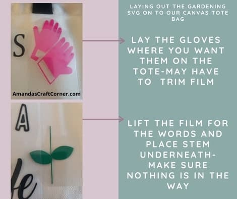 Lay out the gardening gloves on our canvas tote bag and also the stem. Make sure you life the film up to place the stem