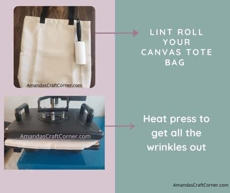 The first thing I always do is take a lint roller and roll over the part of the bag that will be getting the Gardening SVG cut file. Make sure you get all those tiny little particles out of the way. Once your heat press is heated, let's go ahead and place your tote bag down so we can press it for 10-15 seconds or as needed to get the wrinkles out. We are going to press the area in which we are laying your design on.
