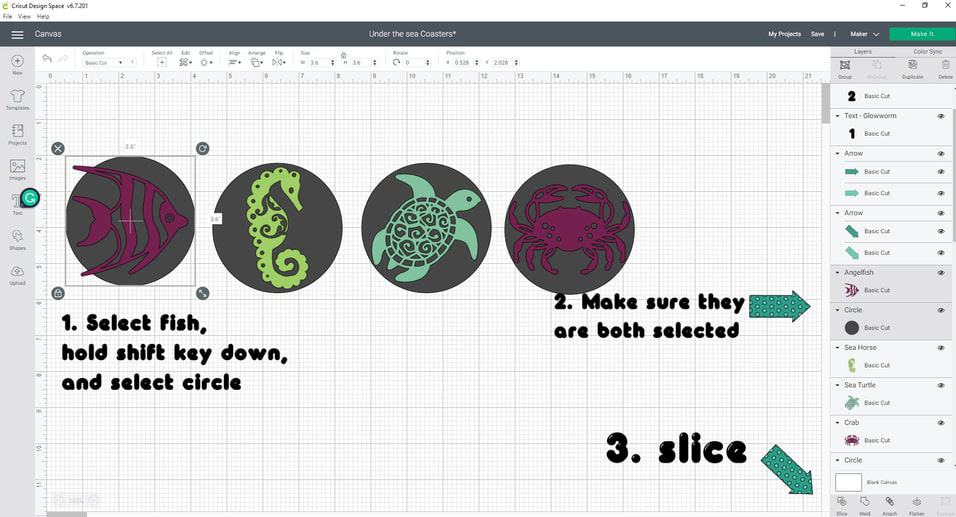 Slice and Set Method- We are going to select the fish, hold your shift key down, and select the circle. Now let's head over to the bottom of the right panel and find the slice icon, which is the first icon, and hit it.