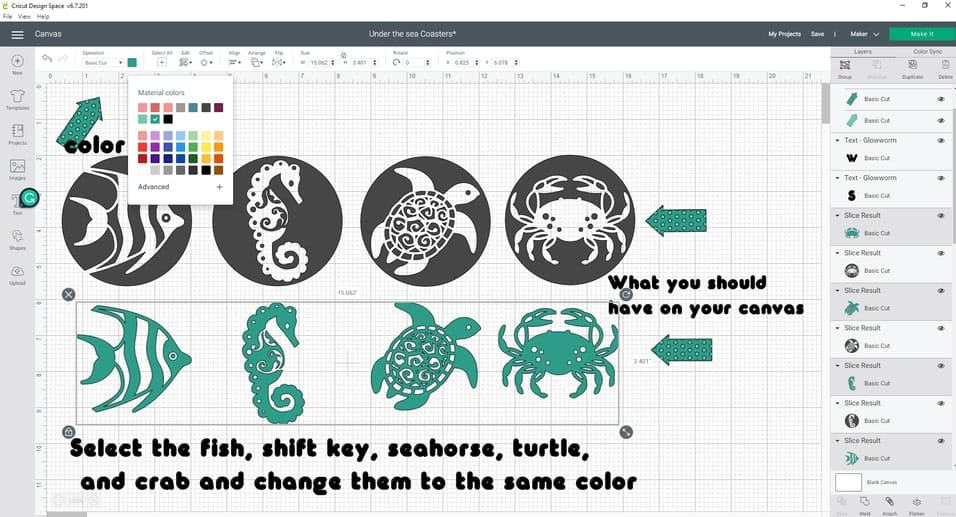 You should now have 4 shapes-fish, seahorse, turtle, and crab, and also the four circles. Now lets select our Fish, hold the shift key down, and select the Seahorse, Turtle, and Crab. Head up to the top panel and find the color and change these to one color.
