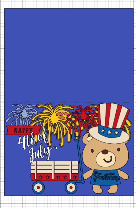 The layout of my Fourth (4th) Of July Day Card
