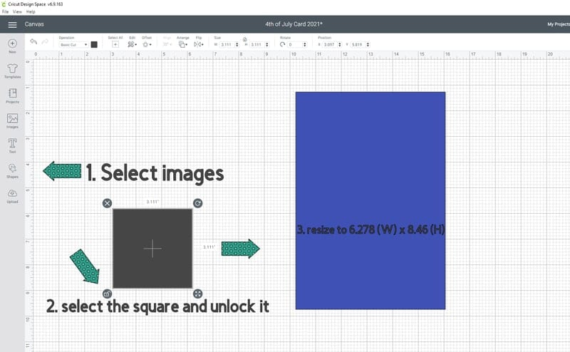 Making the card base- Go into images and select a square. Lets unlock it and size it to the size above.