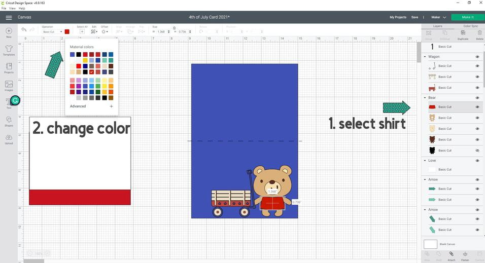 Now let's  size the bear to 2.112 (W) x 2.804 (H). I also went into my right side panel and clicked on the bears shirt, then headed up to the top panel and change the color to blue.