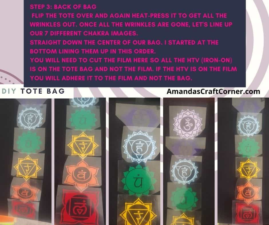 Step 3 for our DIY HTV Double sided Chakra Balance and Healing Tote bag. Lining up the 7 main chakras on the back of the tote bag. Make sure there is no film covering the Iron-on (HTV)