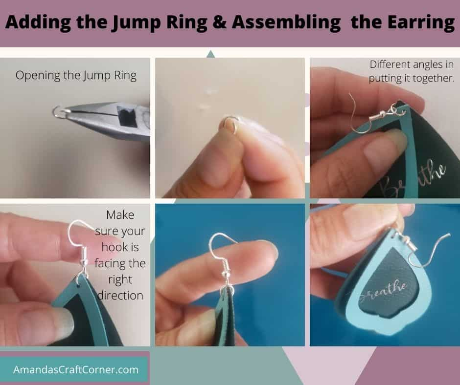 Adding the Jump Ring and assembling the Faux Leather and Foil Iron on Earrings. Step by step with pictures.