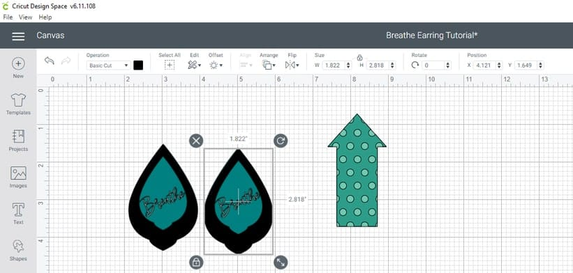 Resizing the Breathe Faux Leather and Foil Iron-on Earrings to the proper size