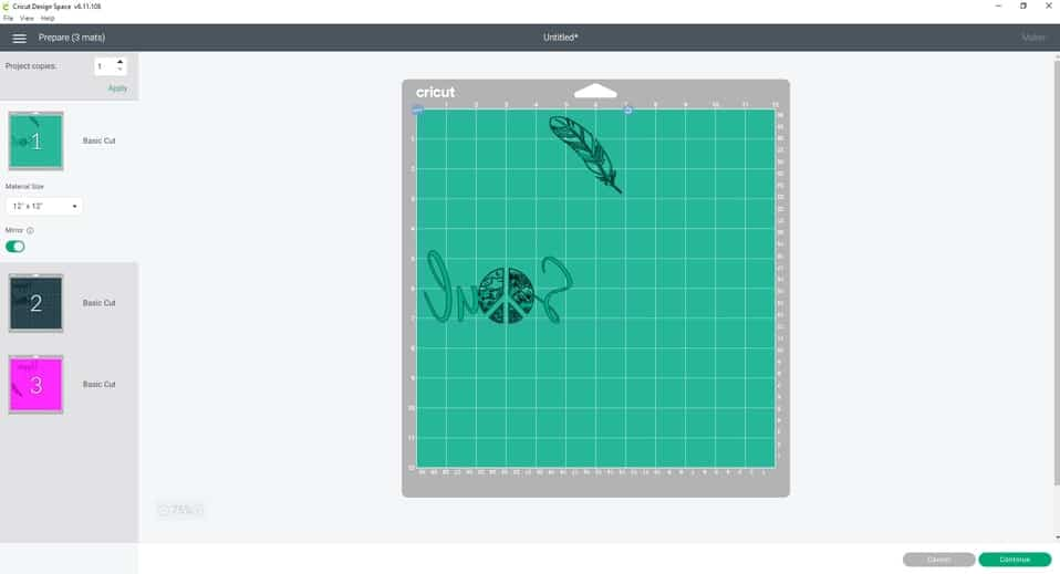 Make it- Preparing your cutting mats. The mirror icon needs to be toggled on because we are working with iron-on (htv)