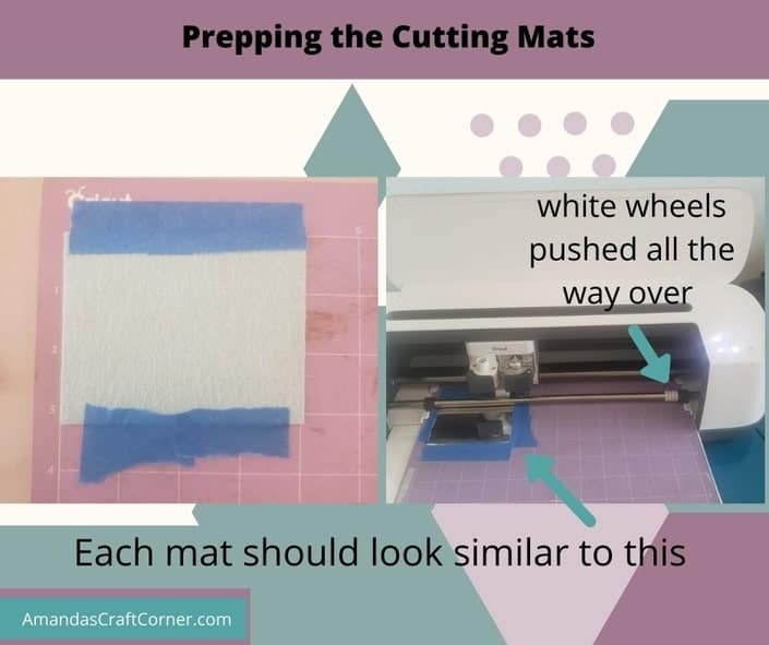 Prepping our cutting mats. Purple mat for faux leather, taped down with blue painter's tape, and white wheels pushed all the way over