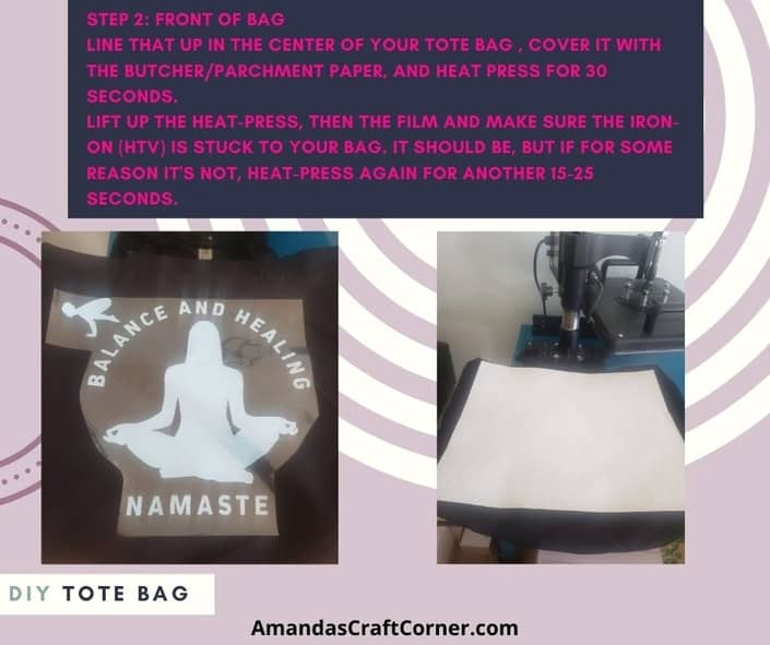 Step 2- Working on the front of our DIY Chakra tote bag that is double sided. Center the image and once it is centered, place the paper over, and heat press.