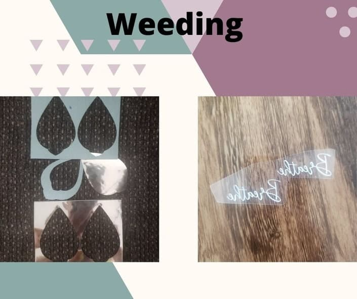 Weeding out our Faux Leather and Foil Iron on Earring Design that we just cut using our Maker.